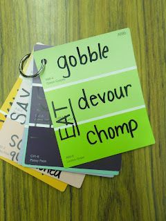 Use Paint chips and binder rings to make a booklet of powerful verbs and adjectives.
