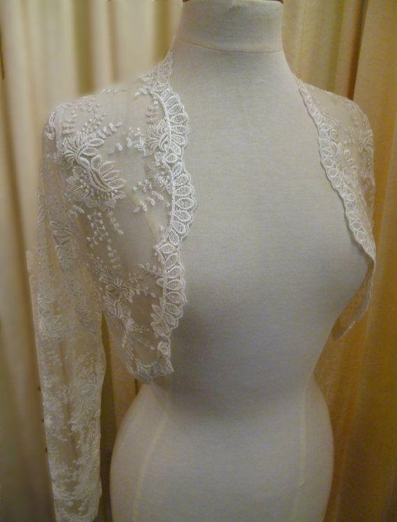 Romantic Ivory Lace Bridal Shrug Bolero Long by DelltonCouture,www.dellton.co.uk
