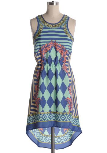 Beautiful multi-coloured multiprint sleeveless dress with hi-lo hem. 100% polyester. Not stretchy. Not lined. Fits small at bust. Indie, Retro, Party, Vintage, Plus Size, Convertible, Cocktail Dresses in Canada Mayan Temple Dress -