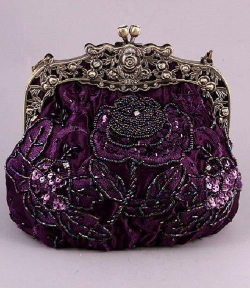 Vintage Victorian Purple Antique Gold Sequin Beaded Evening Bag Wedding Handbag   eBay
