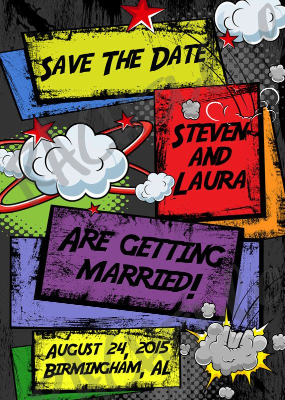 Comic Book Save the Date do-it-yourself digital by Rachellola