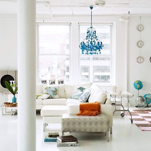 a pop of turquoise in an all white roomLiving Rooms, Lights Fixtures, Blue Chandeliers, Colors, Livingroom, Interiors Design, Modern Loft, Clocks, White Room