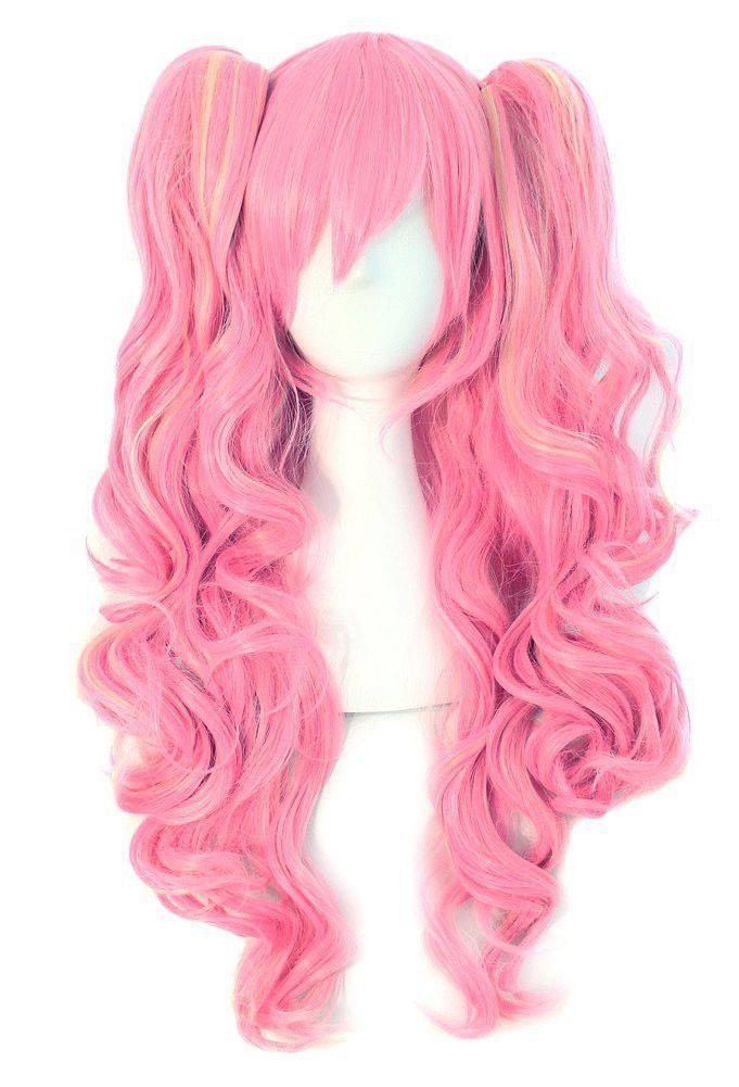 Long Curly Clip on Ponytails Anime Cosplay Wig #longhairstyles