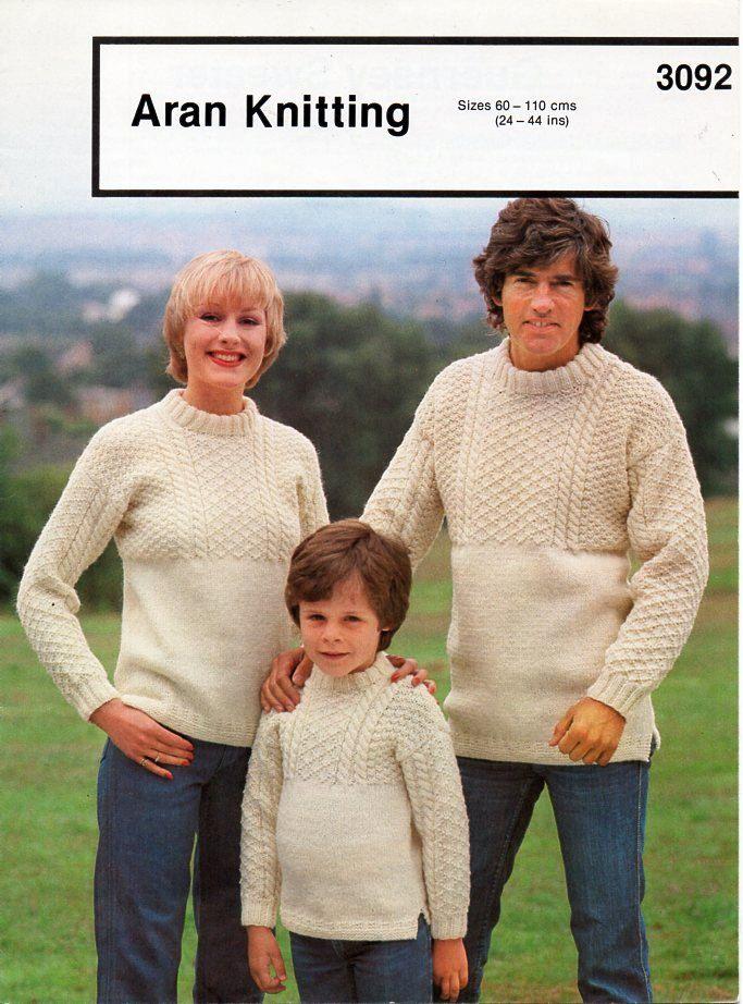Knitting Pattern Ladies Crew Neck Jumper : womens mens childrens aran sweater knitting pattern PDF ladies Guernsey jumpe...