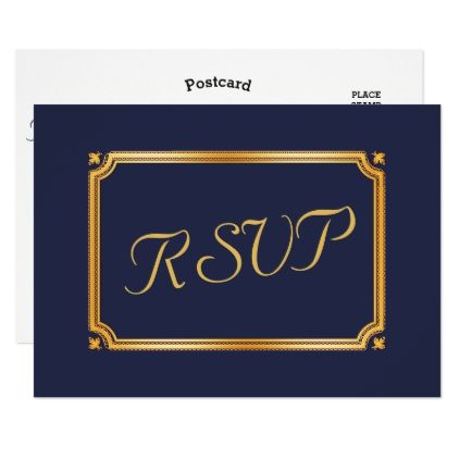 RSVP Elegant Script Modern Faux Gold Navy Blue Card - script gifts template templates diy customize personalize special
