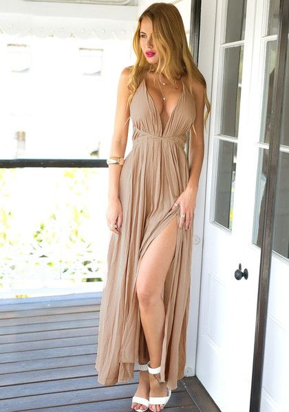 Items on Sale // Make a grand entrance into any event by wearing this sexy cameo color strappy plunge dress.