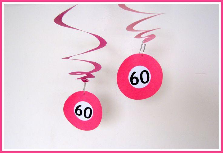 Spiraalslinger (60 jaar) - Creatief en Simpel - Ga naar onze site voor de werkbeschrijving en nog meer ideeen voor versiering bij een verjaardag