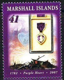 Stamp: Purple heart medal (Marshall Islands) (Purple heart medal) Mi:MH 2124,Sn:MH 899