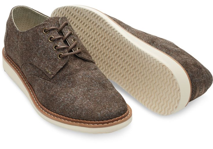 Dark Earth Herringbone Men's Brogues | TOMS
