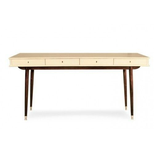 Beautiful Console Table Style, Manteled With Parchment Goatskin On A  Mahogany Wood Base.