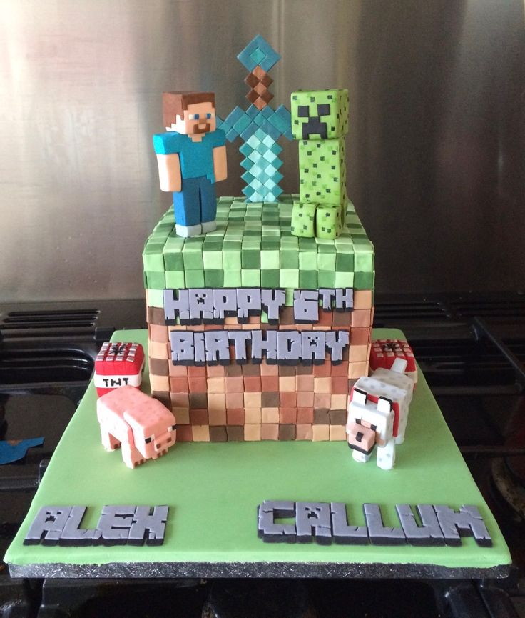 Minecraft Earth Block Cake with sugar diamond sword, Steve, Creeper, wolf, pig and TNT