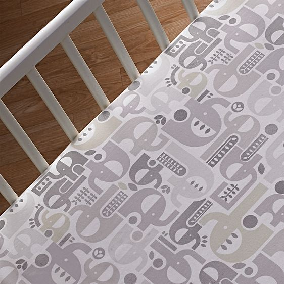 Naturi Elephant Fitted Sheet by Living Textiles