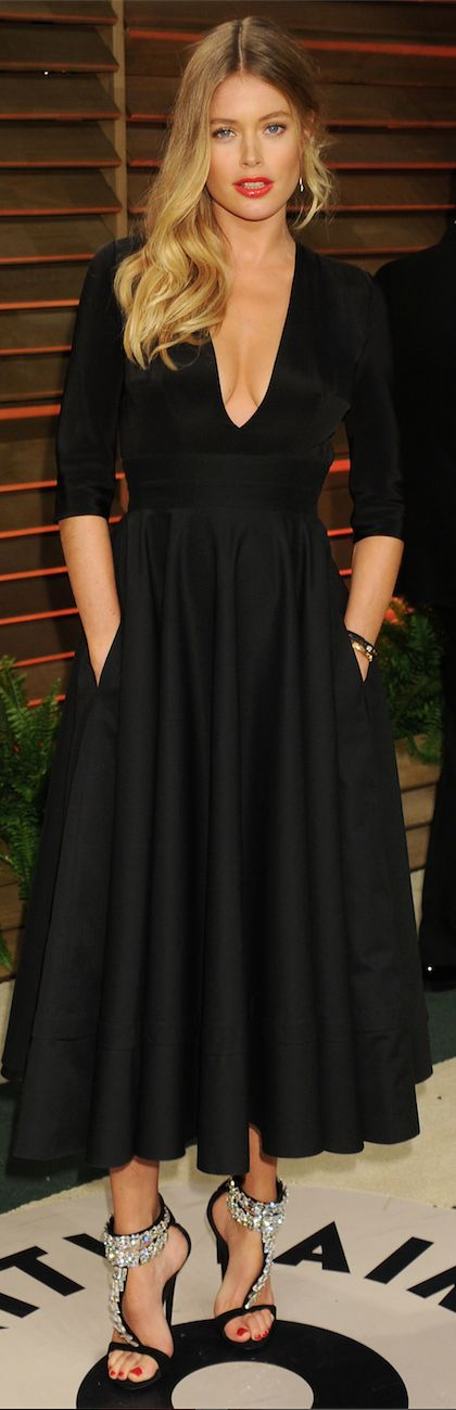 Long Full Skirt Black Dress with Deep Plunging Neckline...perfect shoes!