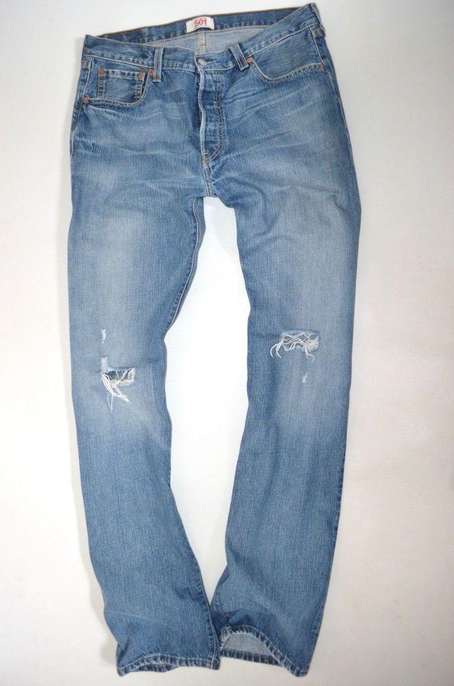 clean Mens LEVIS 501 ® 100% cotton denim Regular Straight leg JEANS size W34 L34 vintage ebay