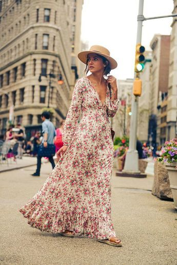 Don't shy away from smaller floral prints for this trend. Bohemian maxi dresses like this one on Alexandra of Lovely Pepa won't overwhelm your frame as long as the fit is flattering—a defined waist is key—and accessories are minimal.