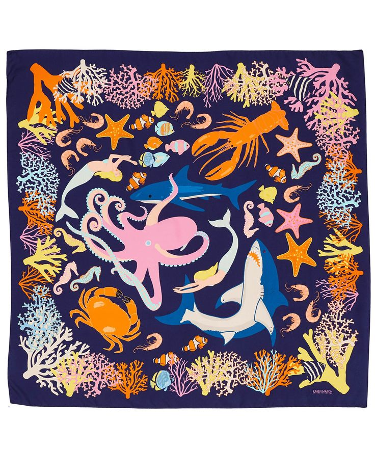 Karen Mabon Black Swimming Sharks Silk Scarf | Accessories | Liberty.co.uk