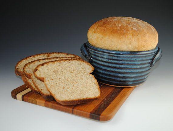 "Bread Baker, Bread Baking Pot in Denim Blue Glaze - 12 RECIPES Included. NEAL POTTERY on Etsy as ""nealpottery"". 32USD"
