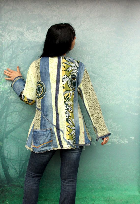 Reserved for Bonnie blue and green denim recycled by jamfashion