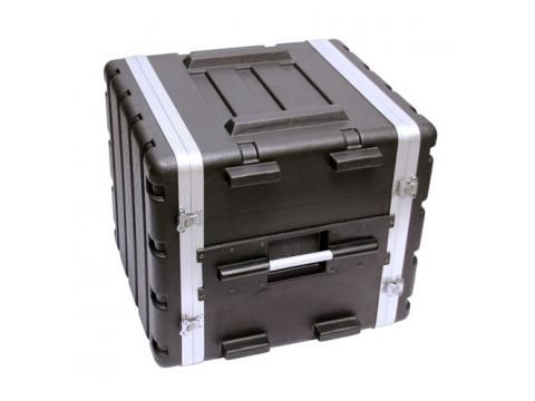 """10 Space Premium ABS 19"""" Rack Case - BC Wholesalers. Cases have both front and rear rack rails and are stackable. Front and rear removeable doors are secured with reliable heavy duty latches. Heavy duty recessed handles."""