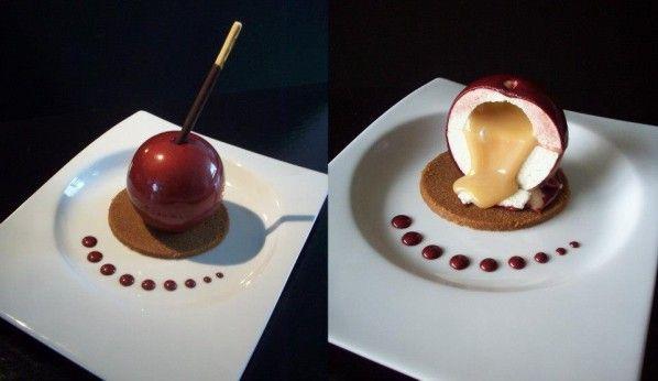 Sphère au chocolat façon pomme d'amour
