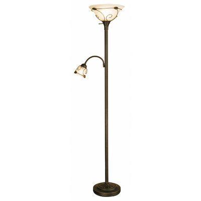 "NormandeLighting Torchiere 71"" Floor Lamp with Side Reading Lamp & Reviews | Wayfair"