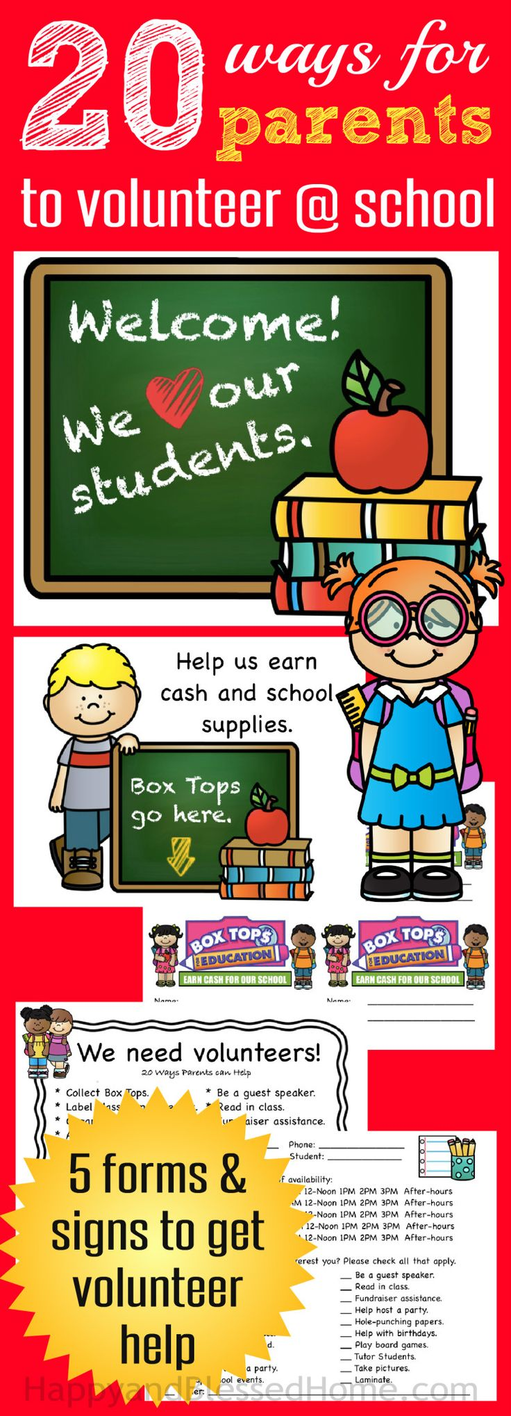 """FREE Printables with 20 Ways for Parents to Volunteer at School with 5 Forms and Signs to get Volunteers - perfect for Back to Shool. Plus Box Tops for Education inserts and a collect """"the box tops here"""" sign. Ad Inspired by Box Tops and the new school year!"""