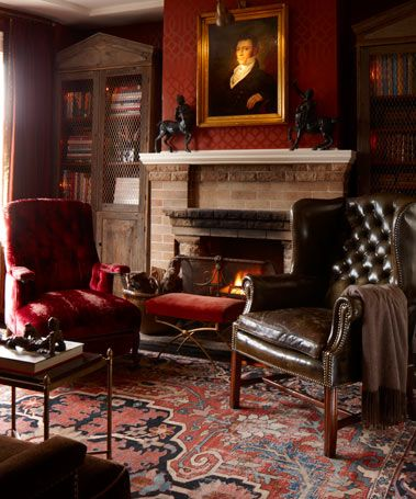 Classically beautiful-  fireplace, leather, gorgeous rug, portraiture, moody lighting: Ideas, Interior, Living Room, English Country, Sitting Room, House, Rugs, Fireplace, Rooms