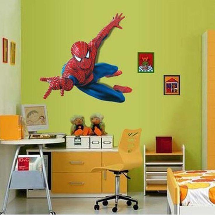 3D bande dessinée Spiderman Hero Stickers muraux amovibles Vinly papier peint Decal enfants garçons Room Decor(China (Mainland))