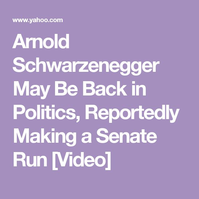 Arnold Schwarzenegger May Be Back in Politics, Reportedly Making a Senate Run [Video]