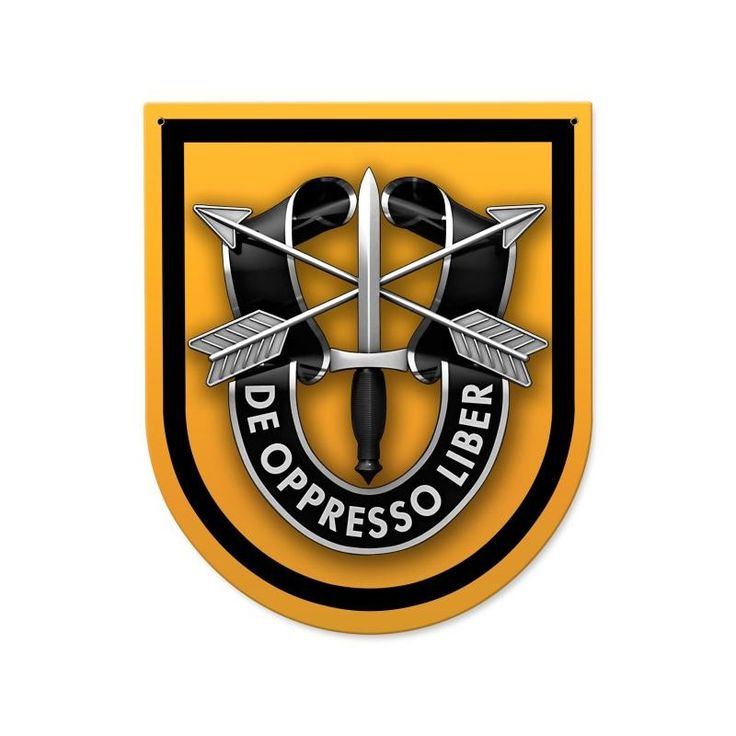From the Altogether American licensed collection, this 1st Special Forces Group Sign custom metal shape measures 15 inches by 18 inches and weighs in at 2 lb(s). This custom metal shape is hand made i