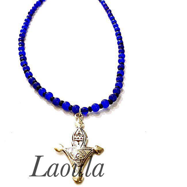 Collier croix du sud en argent et agate, bijoux Touareg ethniques 251846