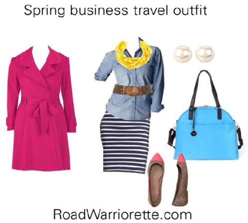 A comfortable, stylish business travel outfit for spring. Jersey skirt, chambray top, yellow statement necklace, fuchsia trench. business travel for women, business travel packing