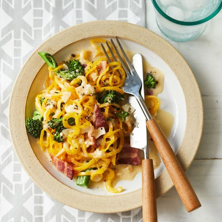 You've never had carbonara quite like this! Loaded with veggies, this spiralized veggie noodle recipe is a healthy copycat of a traditional carbonara recipe. Butternut squash gets spiralized into long, tender noodles for a lower-carb version of this creamy, cheesy pasta dish.