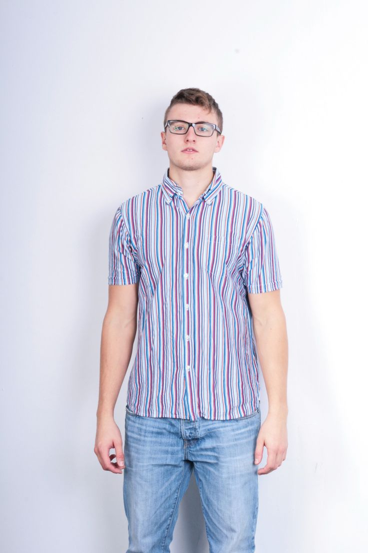 Tommy Hilfiger Mens M Casual Shirt Striped Multi Colour Cotton