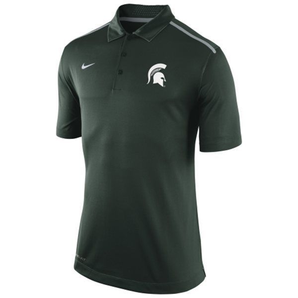 Mens Small Michigan State Spartans Nike Green Elite Coaches Performance Polo #Nike #MichiganState #Spartans