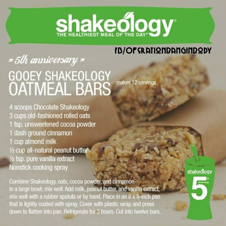 Shakeology Oatmeal Bars   For recipes, tips, health & fitness challenges go to my website or message me:  www.facebook.com/pages/Joy-Rykhus-Fitness/912308378812009 www.beachbodycoach.com/joyrykhus