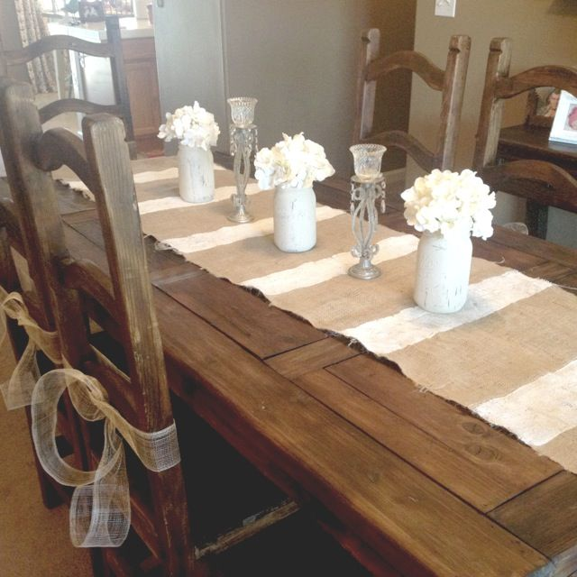 Rustic Farmhouse Vintage Dining Table (Craigslist Fine!)   Burlap Painted  Runner And Chalk
