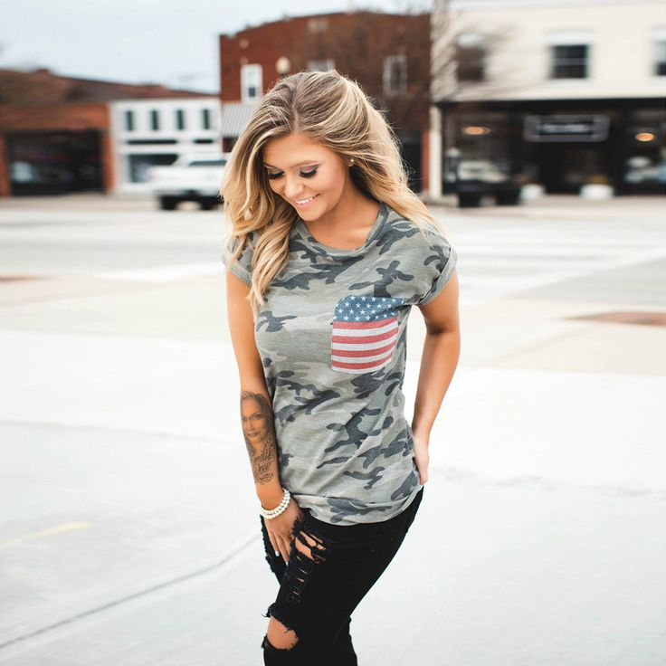 Independence Day Camouflage T-Shirts For Women American Flag Pocket Su - INNOVATIVE PRODUCTS PORTAL - MyProductPortal.com