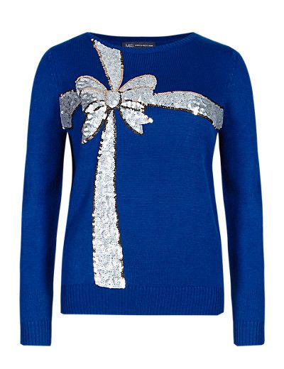 Sequin Embellished Bow Christmas Jumper | M&S