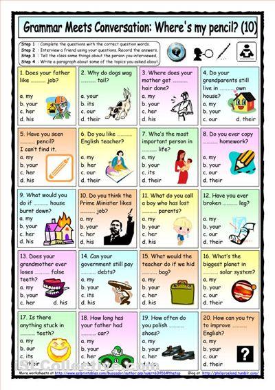 possessive pronouns elementary leve A1   ENGliSh-SLA ...