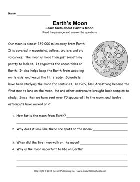 Solar System Reading Comprehension Worksheets (page 2 ...