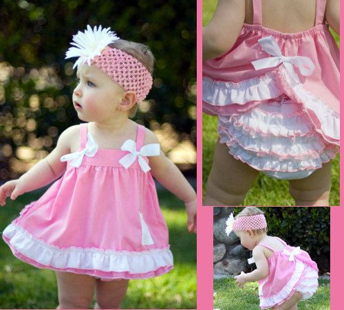 Christian Baby Infant Boutique Clothes Ruffled Diaper Cover & Swing Pink and White Top 6 to 12 months