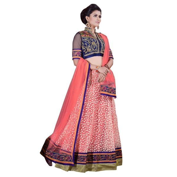 Buy Luscious Peach And Navy Blue Brasso Lehenga Choli Online at cheap prices from Shopkio.com: India`s best online shoping site