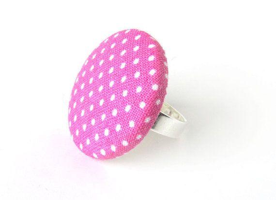 Large pink ring  polka dot ring  big fabric ring  by KooKooCraft, €8.00