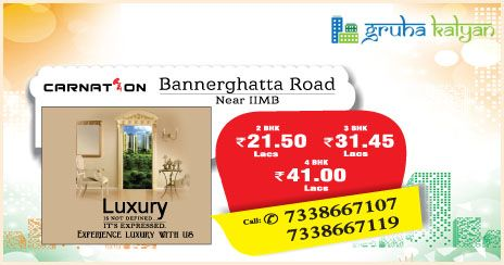 Gruha Kalyan CARNATION at Bannerghatta Road 2, 3 and 4 BHK Luxury Flats/Apartments Available Price Starts 2BHK @ 21.5 Lacs.