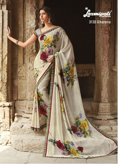 This is a casual/office wear saree made from marvel chiffon Fabric, the saree has multi elegant flower print all over.