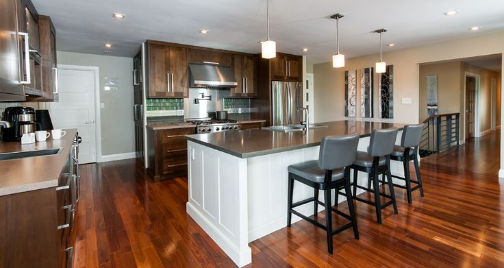 A combination of wood cabinets & lacquer.