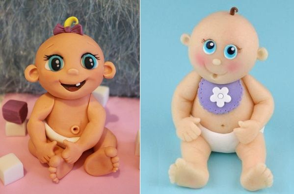 baby model cake toppers by Richard's Cakes left, Renshaw modelling magic demo via Cake and Bake Show Newsletter Feb 2014