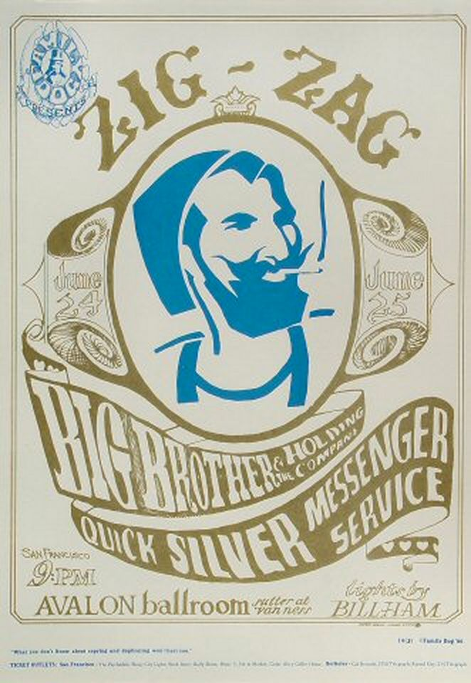 1966 poster by Stanley Mouse & Alton Kelley features Big Brother & the Holding Company & the Quicksilver Messenger Service- Avalon Ballroom SF