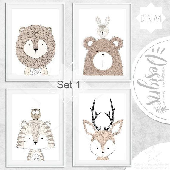 Nursery Fine Art Print Kids Decor Animals Woodland Wildanimals Safari Print Children Posters Babyparty Gift – gender neutral